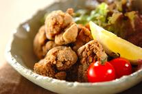 高野豆腐の鶏レバー揚げ