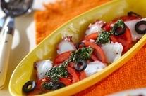 タコのバジル風味カルパッチョ