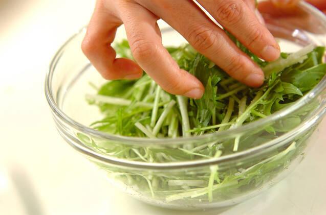 塩もみ水菜とツナのマヨ和えの作り方の手順3