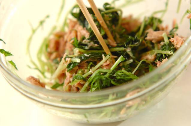 塩もみ水菜とツナのマヨ和えの作り方の手順4