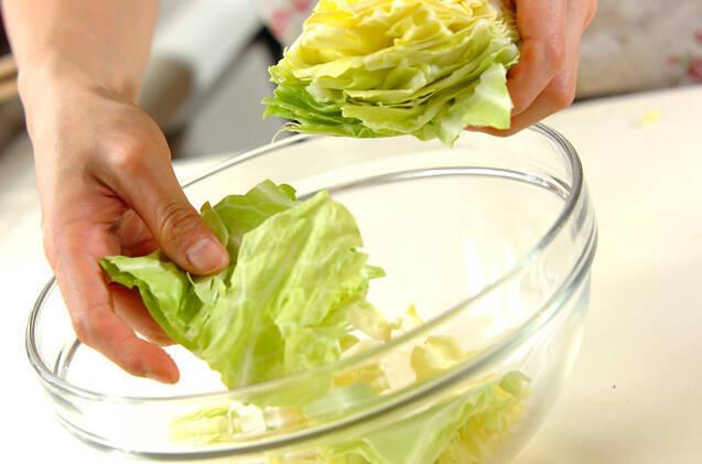 春キャベツの手もみサラダの作り方の手順1