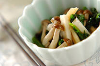 レンコンと菊菜のお浸し