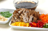 キノコと芽ヒジキの煮物の下準備1