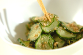 キュウリと大葉のゴマ酢和えの作り方1