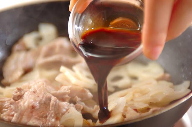 レンコンと豚のきんぴらの作り方の手順2
