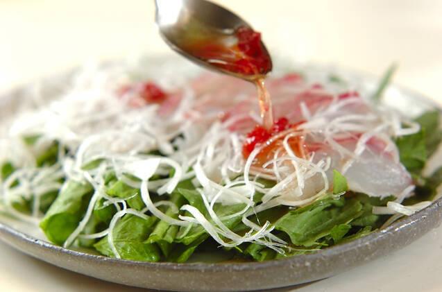 鯛のお刺身サラダの作り方の手順4