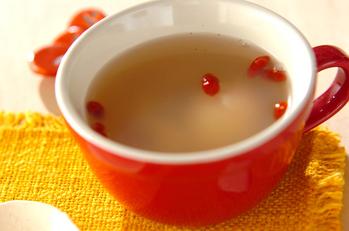 温泉卵入りホタテスープ