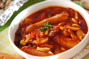 ソーセージと豆のトマト煮