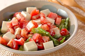 豆腐とトマトの酢みそサラダ