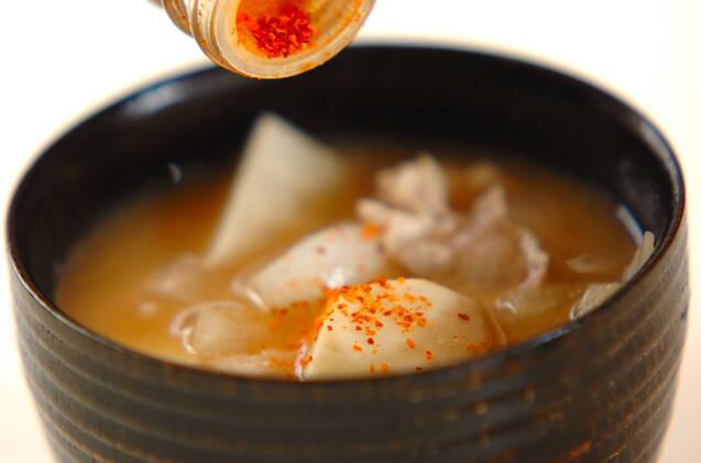豚肉と里芋のみそ汁の作り方の手順5