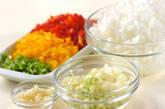 塩サバのトマト煮の下準備1