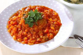 塩サバのトマト煮