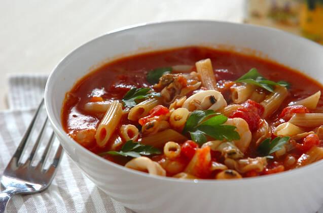 シーフードのトマトスープパスタ