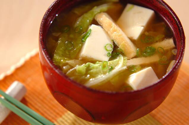 白菜と豆腐のお味噌汁