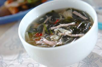 春雨のピリ辛スープ