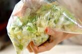 白菜とツナのゴマみそ和えの下準備1