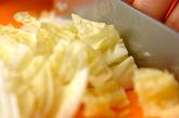 白菜のナメコ和えの下準備1