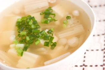 エノキと豆腐のスープ