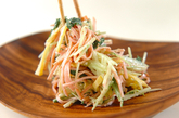 水菜とたくあんのゴママヨ和えの作り方2