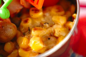 コーンと大豆のチーズ炒め