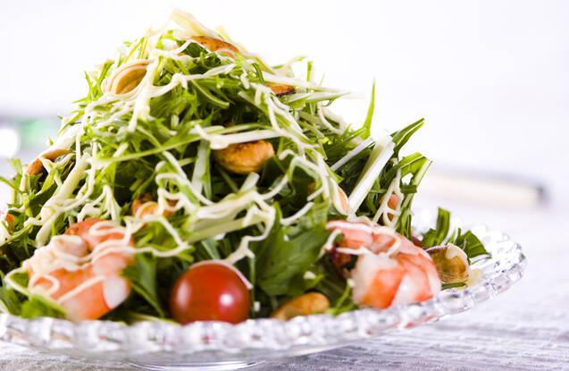 水菜とエビのマヨサラダ