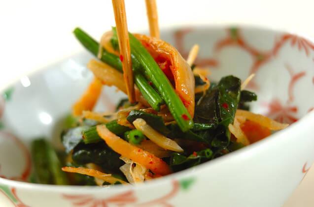 ホウレン草とイカのキムチ炒めの作り方の手順4