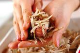 肉団子のゴボウ衣揚げの作り方4