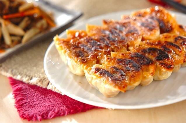キムチ、チーズごはんが入った餃子