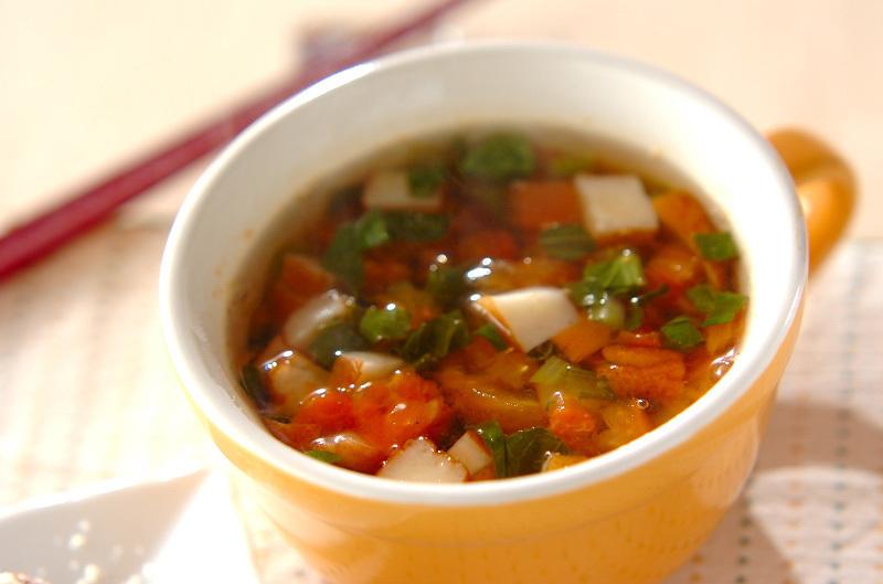 さつまあげのトマトスープ