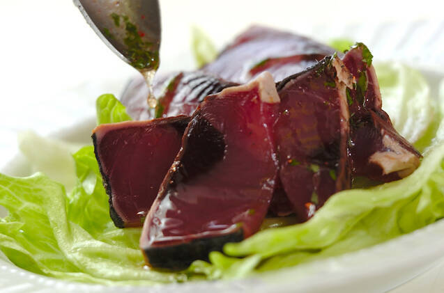 カツオの春ドレッシングサラダ仕立ての作り方の手順5