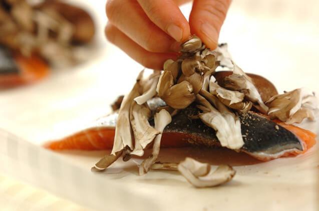 鮭ときのこのレンジ蒸しの作り方の手順1