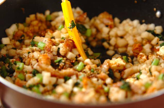 大根と豚肉の常備菜風炒め物 【大根中部+大根葉】の作り方の手順4
