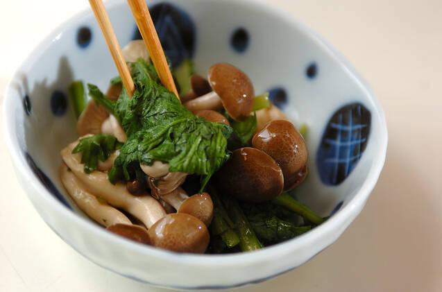 春菊とシメジのサッと煮の作り方の手順4