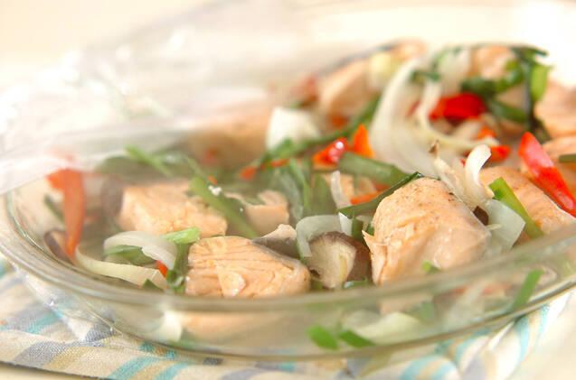 鮭と色々野菜のレンジ蒸しの作り方の手順8