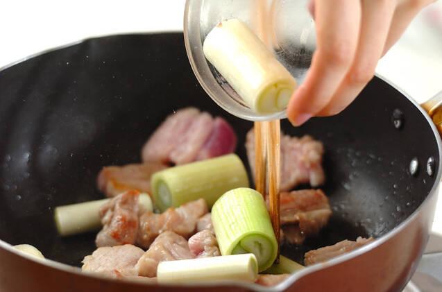 豚肉と白ネギの甘辛炒め煮の作り方の手順4