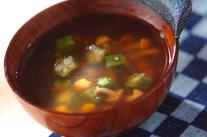 ナメコとオクラのスープ