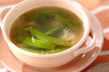 緑のお豆とホタテのスープ