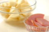 ジャガイモとハムの豆乳みそ汁の下準備1