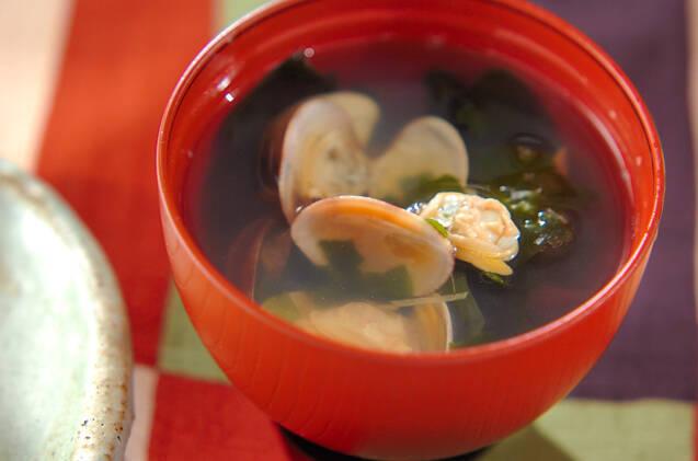 あさりとわかめのあっさり生姜スープ