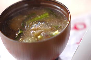 小松菜とナスのみそ汁