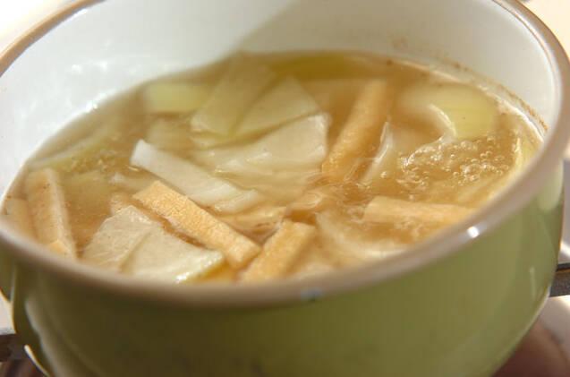 ジャガイモと油揚げの合わせみそ汁の作り方の手順4