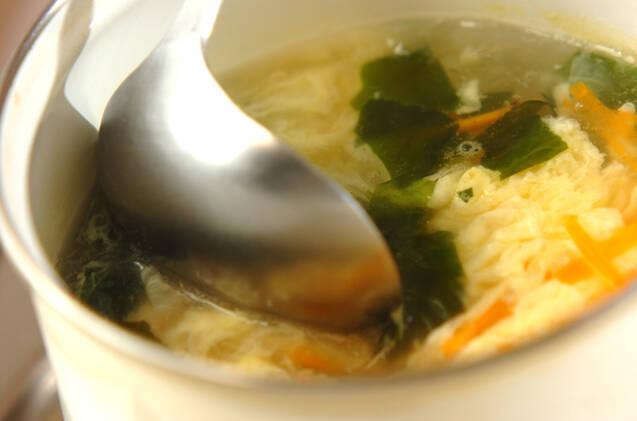玄米を使った和風チャーハンとワカメスープの作り方の手順8