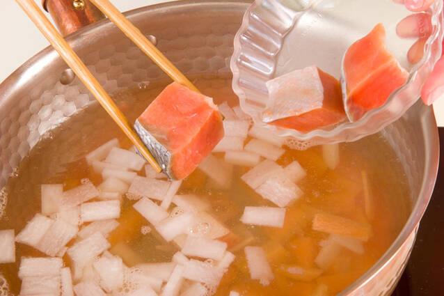塩鮭の粕汁の作り方の手順5