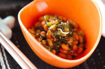 納豆と野沢菜の和え物