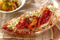 漬けマグロとキムチ素麺