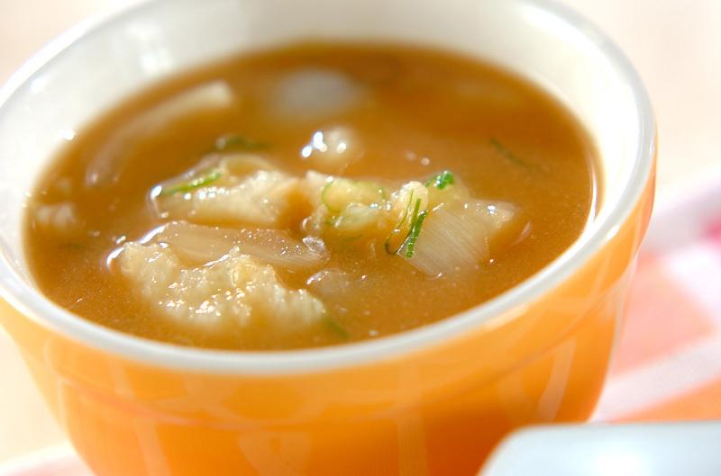 たたき長芋の味噌汁