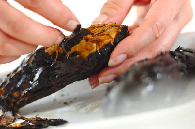 焼きナスの赤出しの作り方の手順1