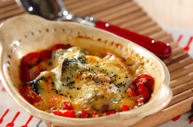 耐熱皿に入ったさばの水煮缶のフレッシュトマトグラタン