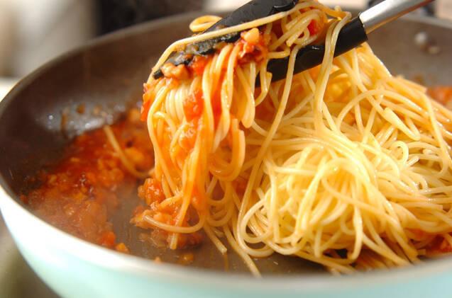 タコミンチのトマトパスタの作り方の手順8