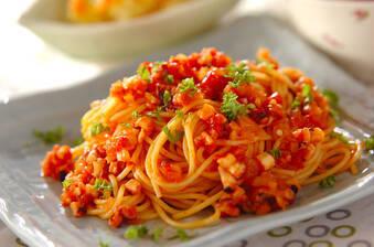 タコミンチのトマトパスタ